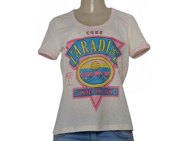 T-shirt Feminino Coca-cola Clothing 343201959 Off White/rosa