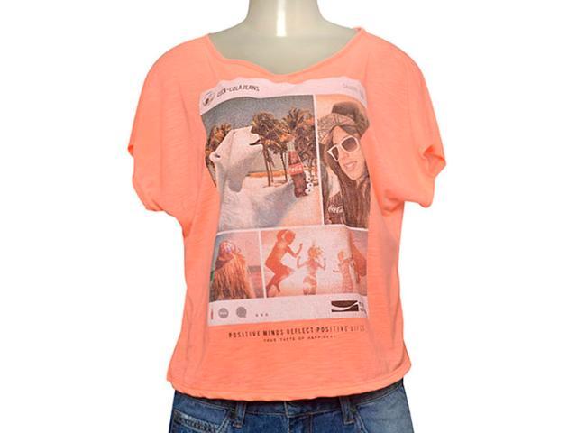 T-shirt Feminino Coca-cola Clothing 343201752 Laranja Neon