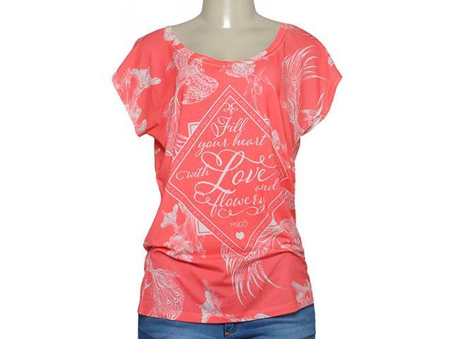 T-shirt Feminino Margo 13066 Estampado Coral/branco