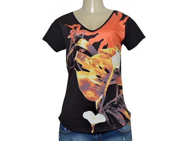 T-shirt Feminino Morena Rosa 105004 Estampado Preto