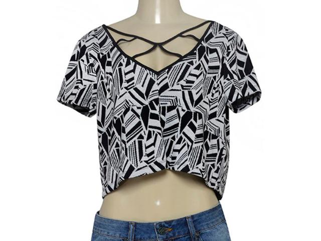 T-shirt Feminino Triton 341401174 Var2 Preto/branco