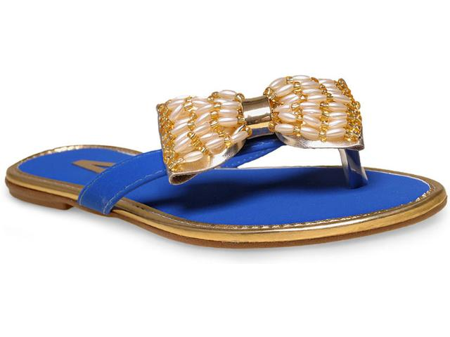 Tamanco Feminino Addan Mulher 667 Azul Bic/ouro