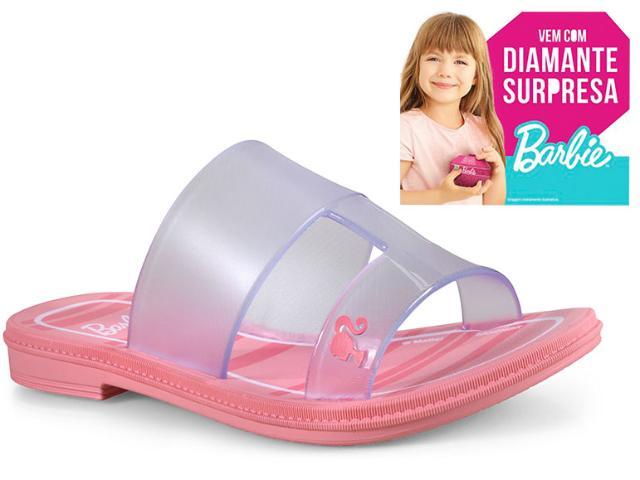 Tamanco Fem Infantil Grendene 21825 21419 Barbie Suprise Rasteiro Rosa Vidro