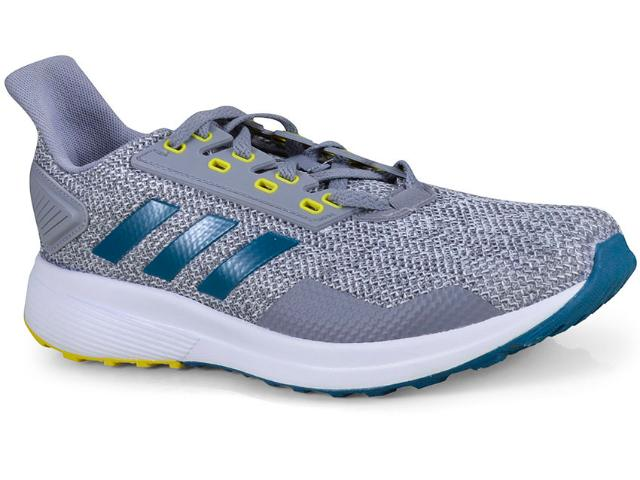 Tênis Masculino Adidas Bb6920 Duramo 9 Cinza/azul/amarelo