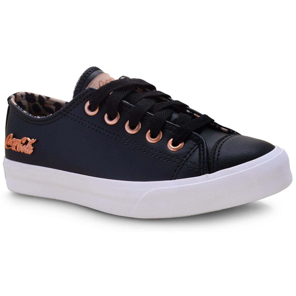 Tênis Feminino Coca-cola Shoes Cc1614 Preto/caramelo