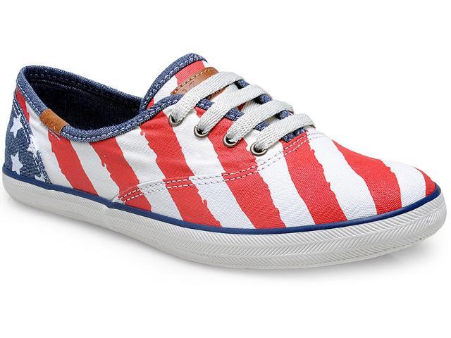 Tênis Feminino Keds Kd263.202 Off White/vermelho/jeans