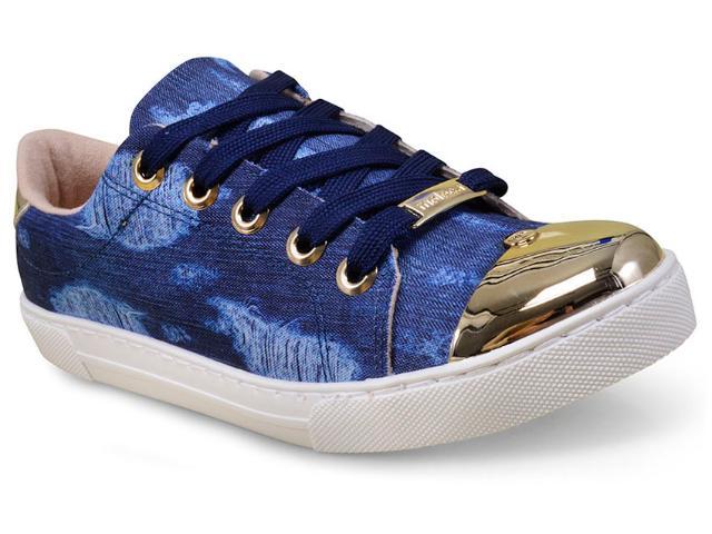 Tênis Feminino Moleca 5629202 Jeans/dourado