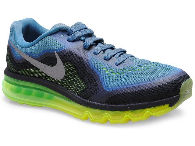 Tênis Masculino Nike 621077-403 Air Max 2014 Azul/preto/limão