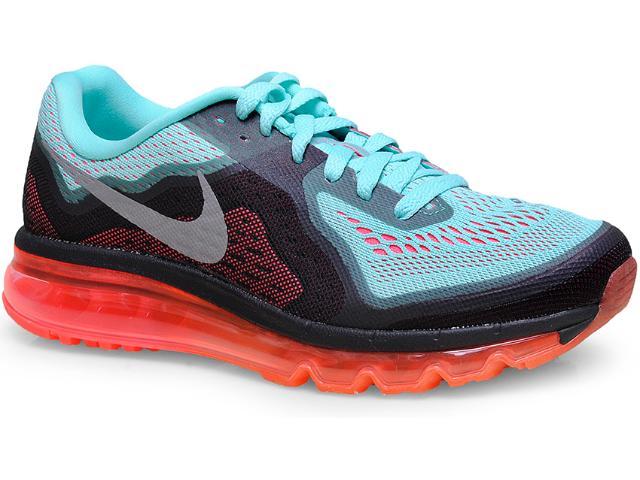 Tênis Masculino Nike 621078-303 Air Max 2014 Preto/verde/laranja