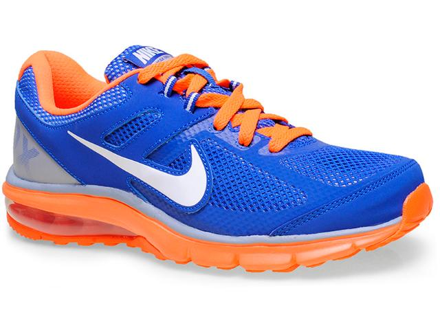 Tênis Masculino Nike 599343-402 Air Max Defy rn Azul/laranja Neon