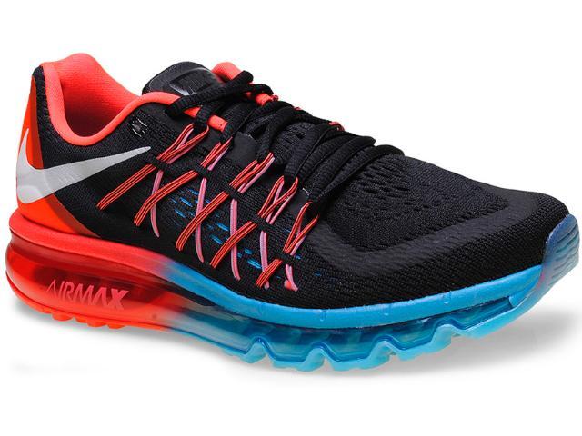 Tênis Masculino Nike 698902-006 Air Max 2015 Preto/azul/laranja
