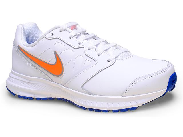Tênis Masculino Nike 684654-101 Downshifter 6 Lea Branco/laranja/azul