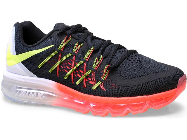 Tênis Masculino Nike 698902 007 Air Max 2015  Preto/laranja/branco