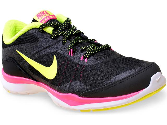 Tênis Feminino Nike 724858-006 Wmns Flex Trainer 5 Preto/limão/pink