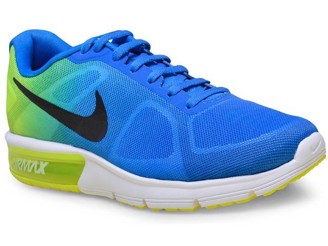 Tênis Masculino Nike 719912-403 Air Max Sequent Azul/limão