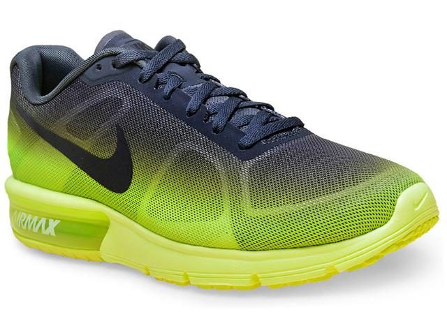 Tênis Masculino Nike 719912-701 Air Max Sequent  Chumbo/limão