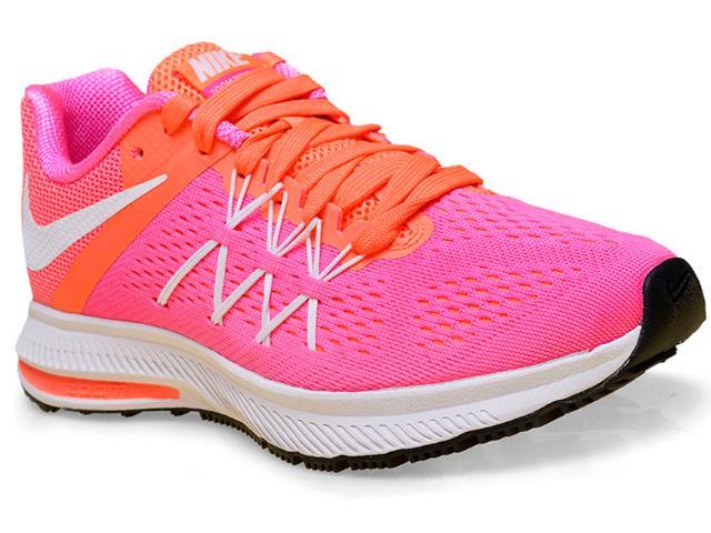 Tênis Feminino Nike 831562-600 Air Zoom Winflo 3  Rosa/laranja