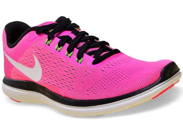 Tênis Feminino Nike 830751-600 Flex 2016 rn  Pink/preto/branco