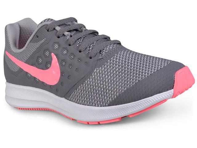 Tênis Fem Infantil Nike 869972-003 Infantil  Downshifter 7 Cinza/pink/branco