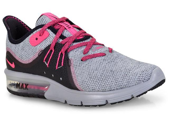 Tênis Feminino Nike 908993-015 Wmns Air Max Sequent 3 Cinza/pink/preto