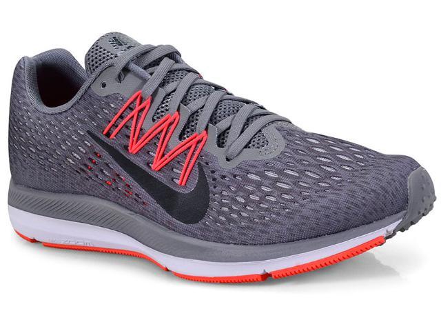 Tênis Masculino Nike Aa7406-006 Zoom Winflo 5 Grafite/laranja