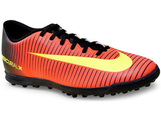 Tênis Masculino Nike 831971-870 Mercurial Vortex Iii tf  Preto/coral