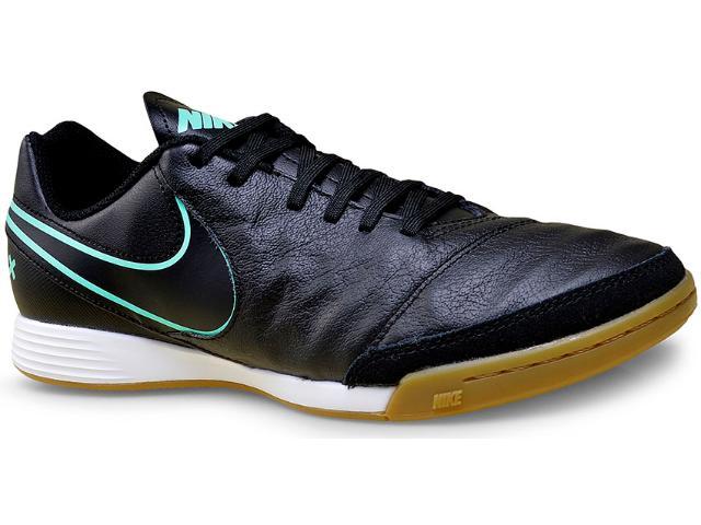 Tênis Masculino Nike 819215-004 Tiempo Genio ii Leather ic  Preto/turquesa