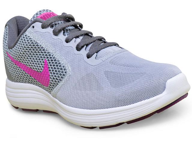 Tênis Feminino Nike 819303-009 Revolution 3  Cinza/pink
