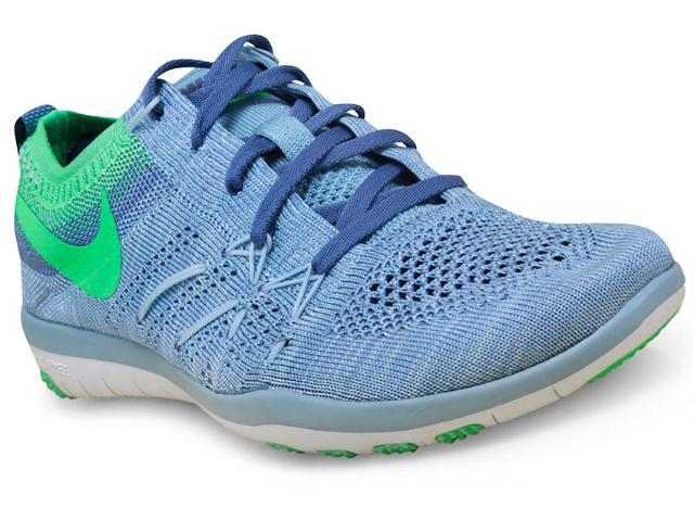 Tênis Feminino Nike 844817-402 w Free tr Focus Flyknit  Azul Claro/verde