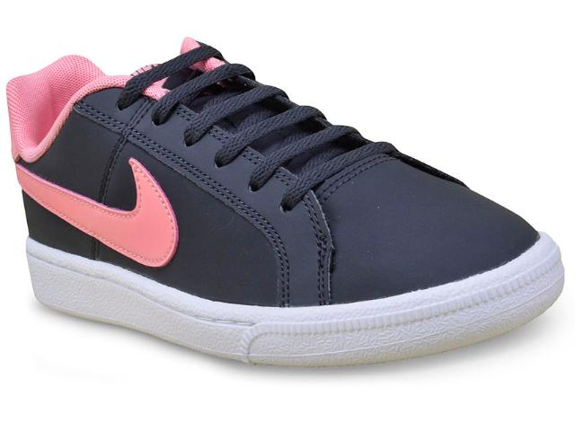 Tênis Fem Infantil Nike 833654-002  Court Royale Preto/rosa
