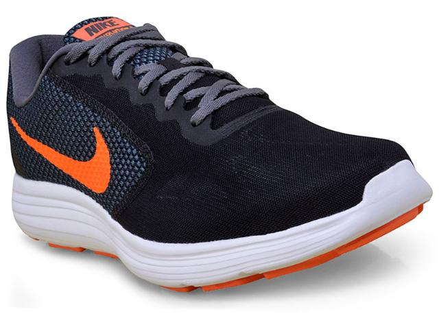 Tênis Masculino Nike 819300-003 Revolution 3 Preto/laranja