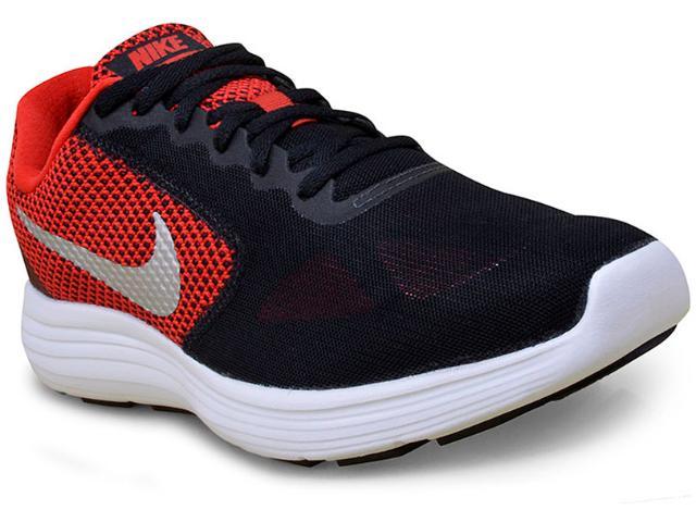 Tênis Masculino Nike 819300-600 Revolution 3 Preto/vermelho