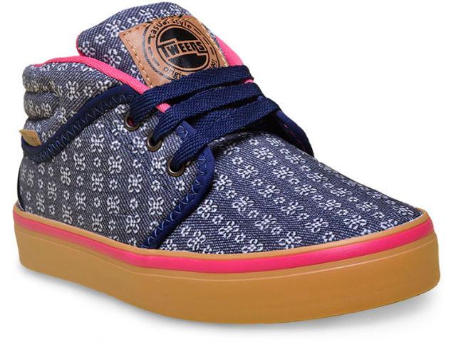 Tênis Fem Infantil Novopé 115315 Jeans Floral/marinho