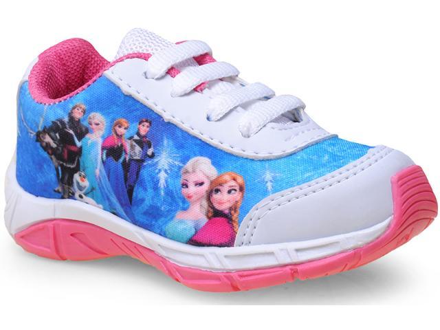 Tênis Fem Infantil pe de Chule Frozen Branco/pink/azul