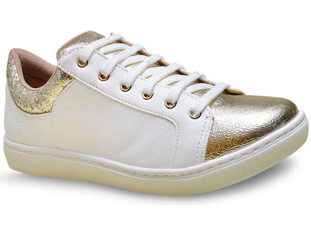 Tênis Feminino Via Marte 16-12406 Dourado/branco/multi