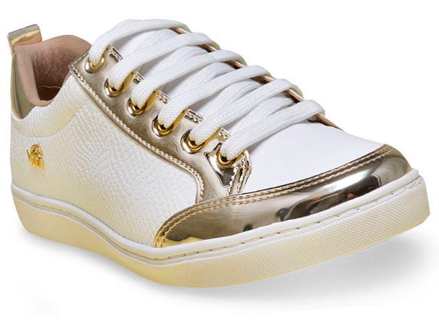 Tênis Feminino Via Marte 16-12415 Dourado/branco