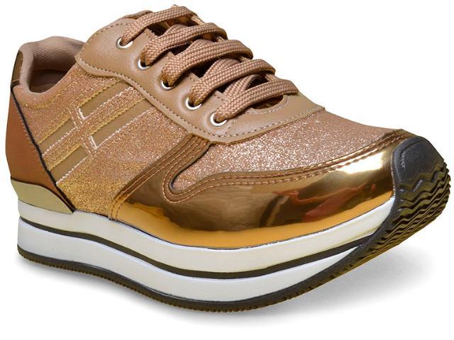 Tênis Feminino Via Marte 17-5005 Bronze/dourado