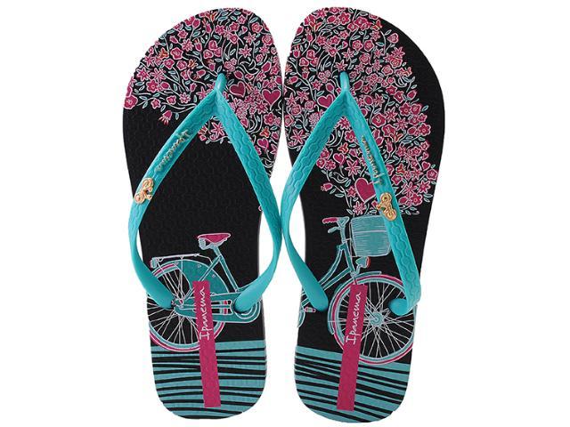 Chinelo Feminino Grendene 25601 Ipanema Mari Preto/verde/rosa