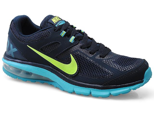 Tênis Masculino Nike 599343-474 Air Max Defy rn Marinho/celeste/verde