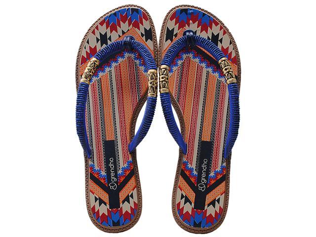 Tamanco Feminino Grendene 16650 Grendha Tribal Azul/marrom