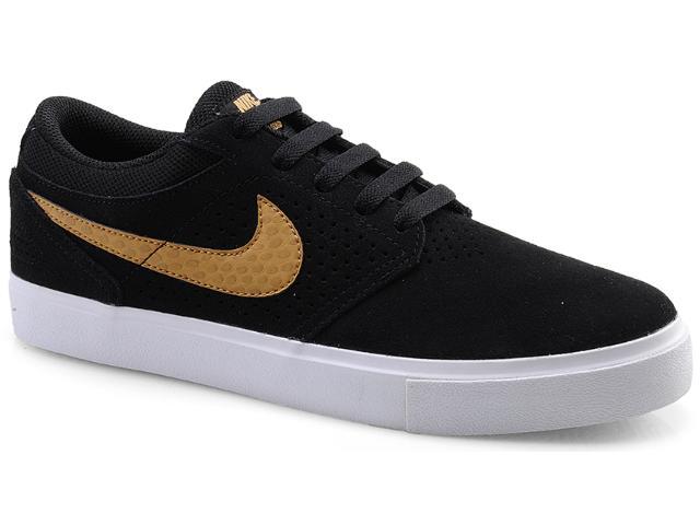 Tênis Masculino Nike 510580-071 Paul Rodriguez 5 lr Preto/dourado/branco