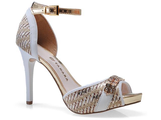 Sandália Feminina Tanara 4985 Branco/ouro