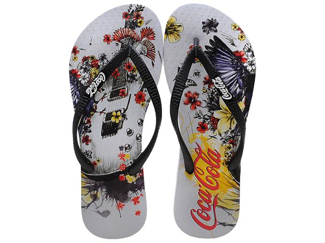 Chinelo Feminino Coca-cola Shoes Cc0361 Branco/preto