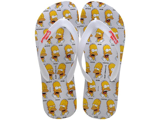 Chinelo Masculino os Simpsons Sm0016 Branco