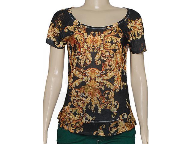 Blusa Feminina Index 05.06.000199 Preto/laranja Estampado