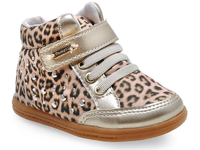 Sneaker Fem Infantil Pampili 402.016.9895 Onca/dourado