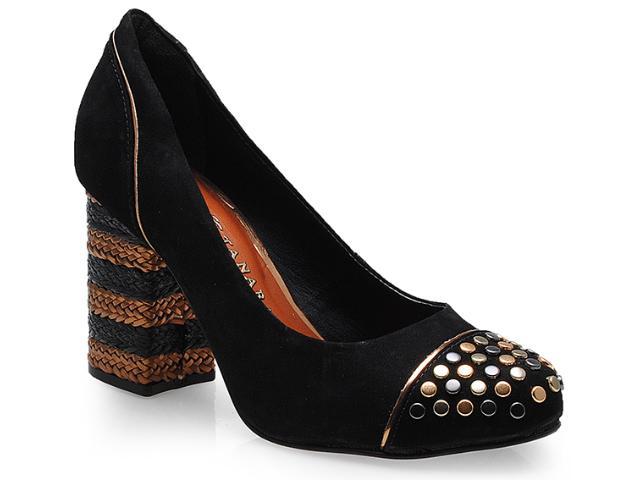 Sapato Feminino Tanara 5584 Preto/ouro Velho
