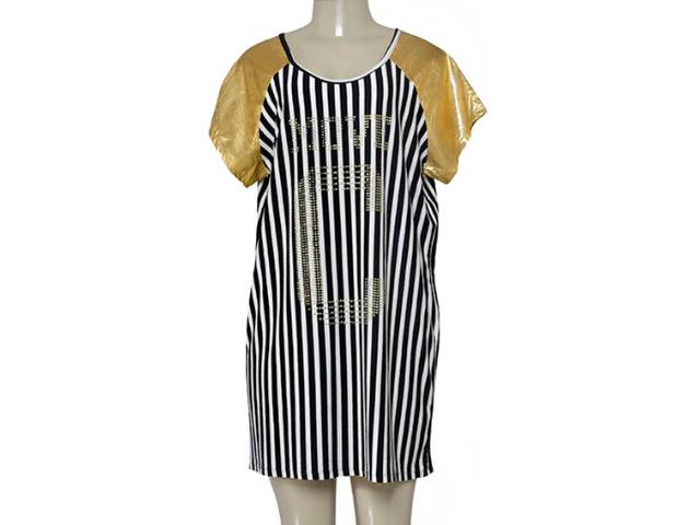 Vestido Feminino Coca-cola Clothing 443201748 Preto/dourado/branco