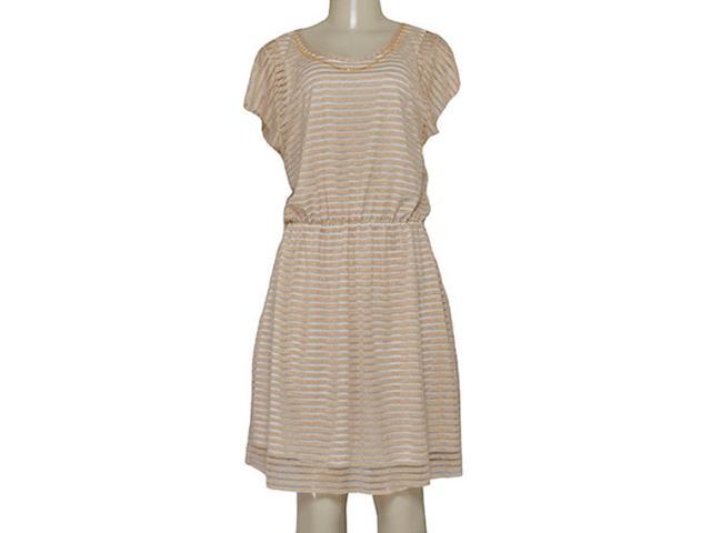 Vestido Feminino Dopping 018065535 Off White Listrado Dourado