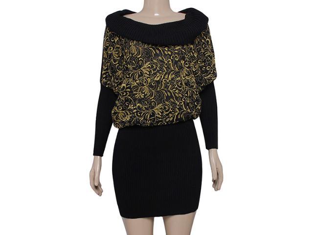 Vestido Feminino Intuição 133213 Preto/ouro